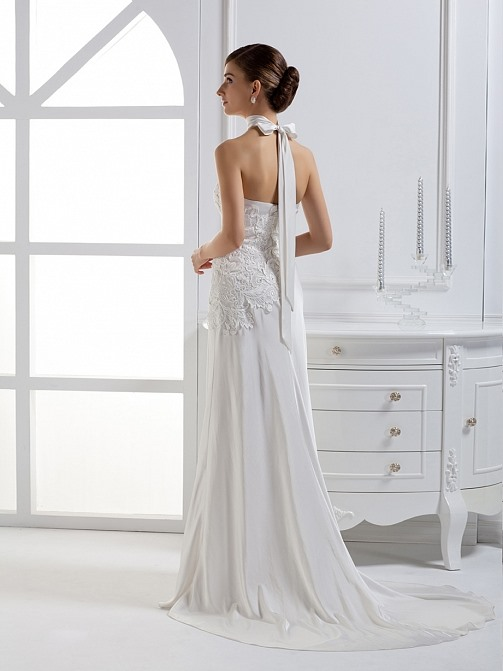 Dramatic Column Strapless Floor-length Court Train Wedding Dress With Jacket/Shawl