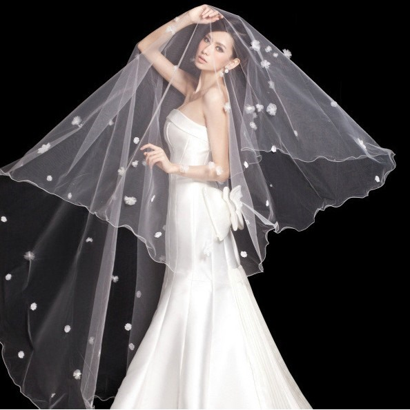 Pretty Flowers Chapel Wedding Bridal Veil