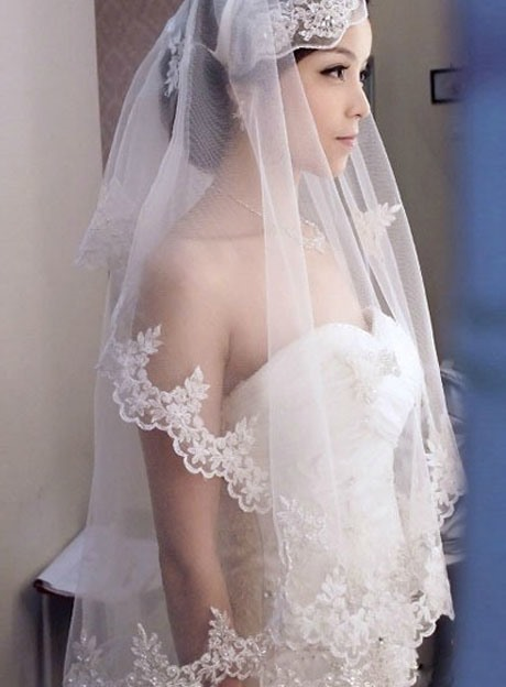 Dramatic Waltz Length White Tulle Wedding Veil with Appliques Edge