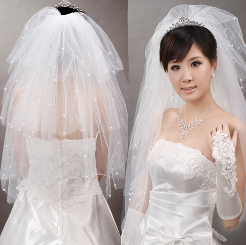 White Beads Decorated Tulle Wedding Veil