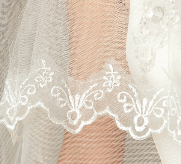 Faddish Cathedral Length White Tulle Applique Wedding Veil