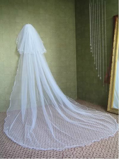 Gorgeous Tidebuy Cathedral Length White Tulle Wedding Veil