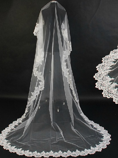 Faddish Chapel With Lace Applique Edge Wedding Bridal Veil