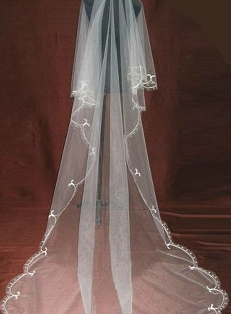 Attractive Cathedral Length White Tulle Wedding Veil