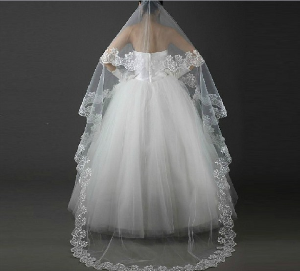 heart Style Cathedral Length White Lace Wedding Veil