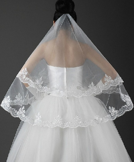 Chic Elbow Wedding Veil with Lace Appliques Edge