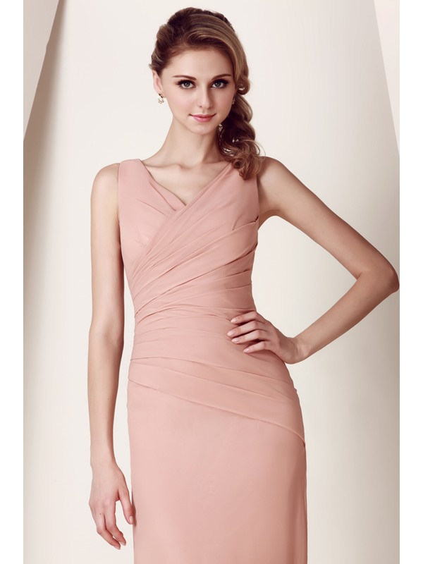Sheath V-Neck Pleats Long Bridesmaid Dress