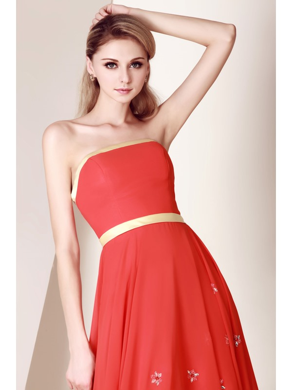 Pure A-Line Beading Sashes Bowknot Strapless Knee-Length Dasha's Homecoming Dress