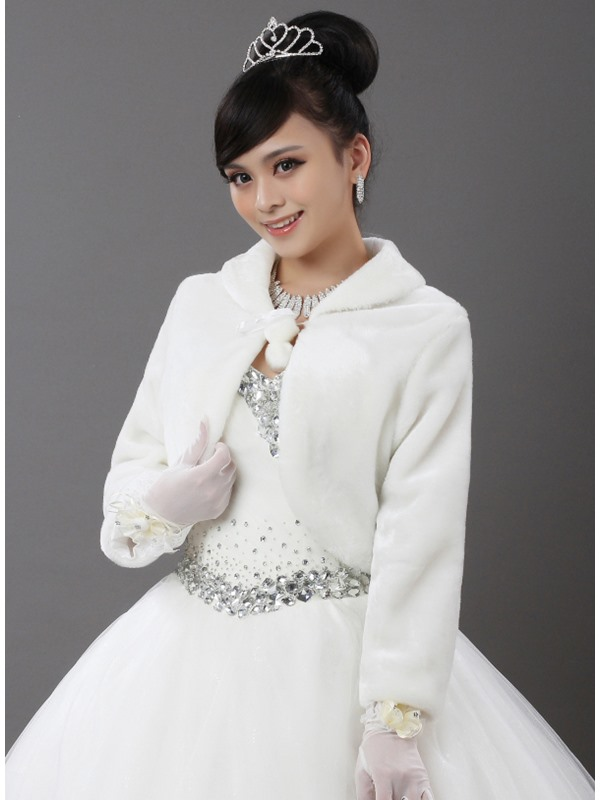 Long Sleeve Faux Fur Wedding Jacket