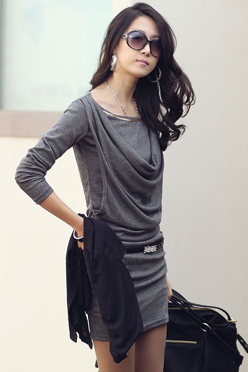 Lovely Korean Style Long Sleeve Dress