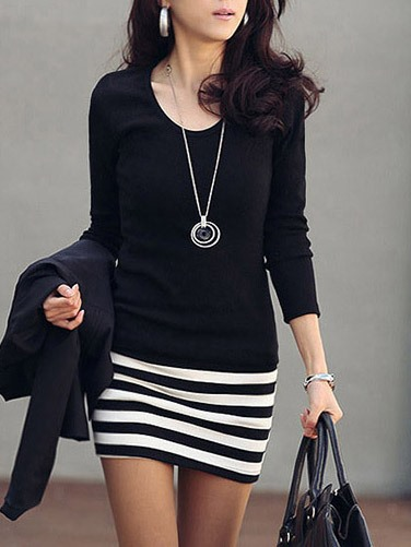 Carefree Slim Long Sleeve Short Day Dress