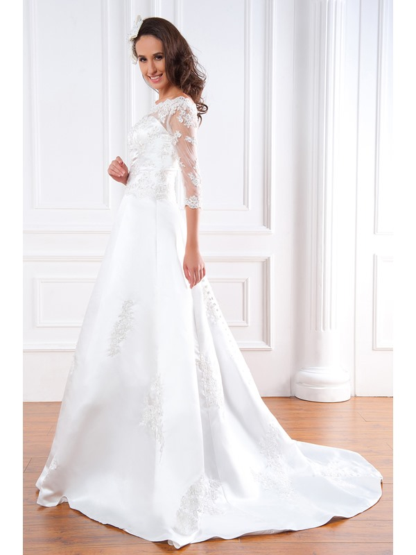 Gorgeous A-line 3/4-Length Sleeves Bateau Floor-Length Court Appliques Renata's Wedding Dress