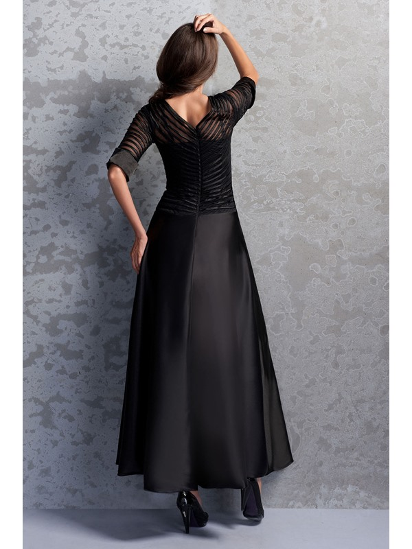 Vintage Scoop Neckline Half Sleeves Ankle-Length Miriama's Mother of the Bride Dress