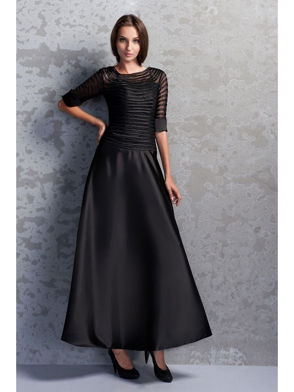 Vintage Scoop Neckline Half Sleeves Ankle-Length Miriama's Mother of the Bride Dress(Free Shipping)
