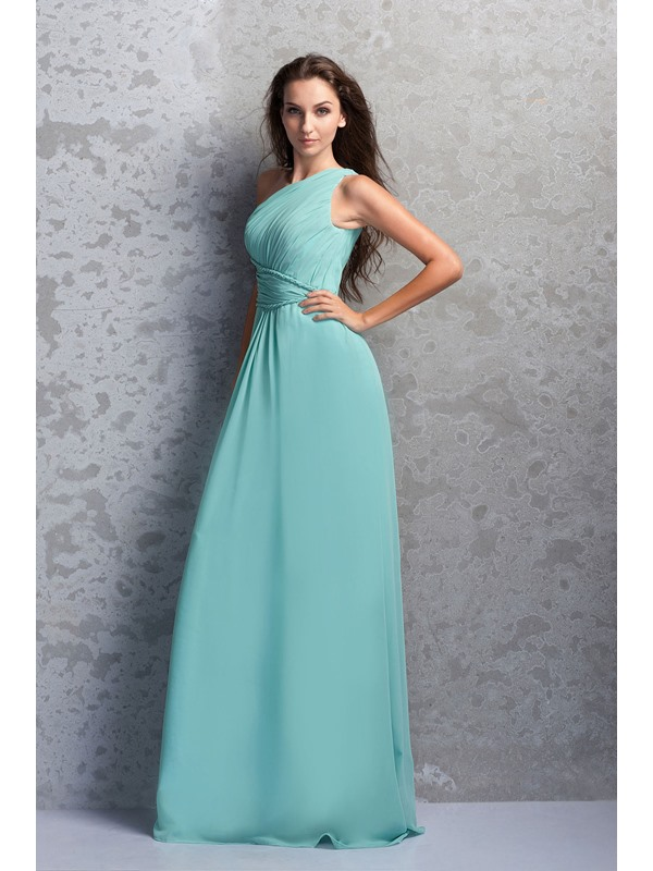 Affordable One-Shoulder Ruched A-Line Floor-Length Miriama's Bridesmaid Dress