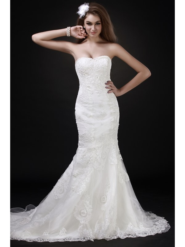 Fabulous Floor-Length Sweetheart Trumpet/Mermaid Chapel Roxy's Wedding Dress