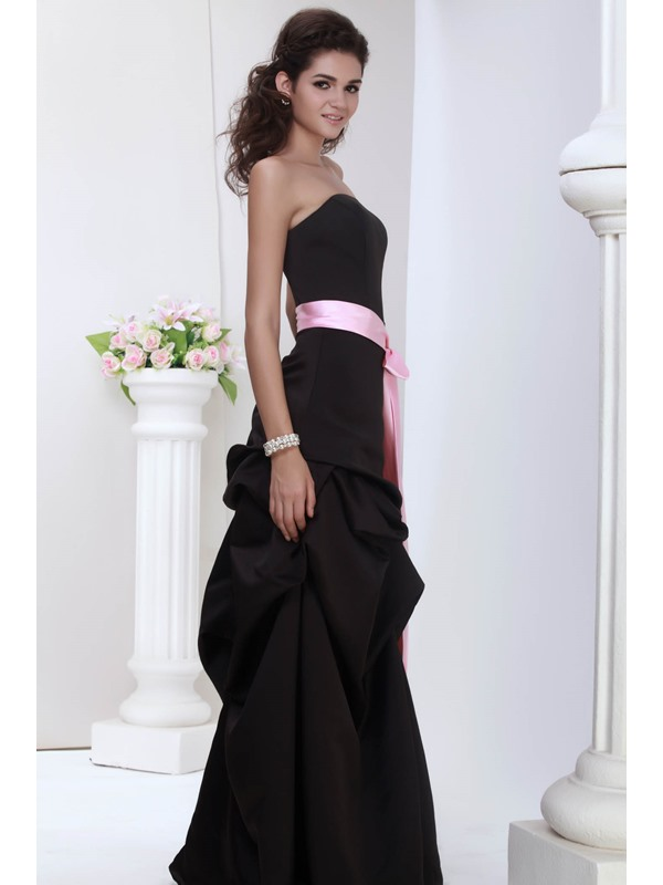 Juliana's Elegant A-line Strapless Ruched Sash Bridesmaid Dress