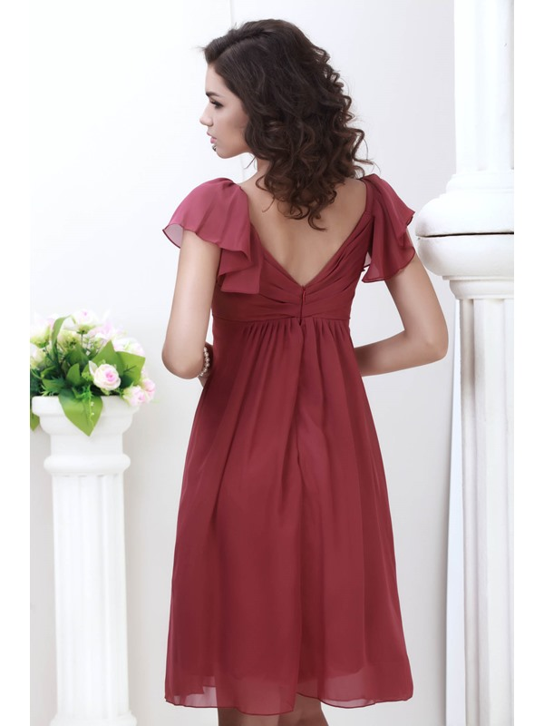 Cheap V-neck Cap Sleeves Knee-Length Juliana's Bridesmaid Dress(Free Shipping)