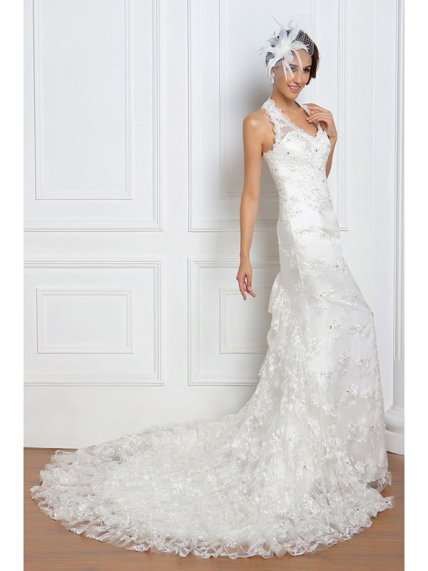 Pretty Trumpet/Mermaid Halter Chapel Renata's Wedding Dress