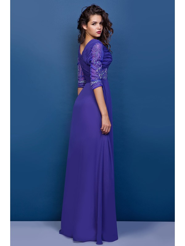 V-Neck Half Sleeves Beaded Mother of the Bride Dress