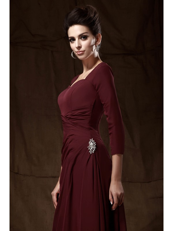 Elegant A-Line Floor-length 3/4-length Sleeves Sweetheart Taline's Mother of The Bride Dress