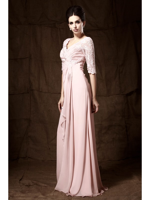 Romantic Lace Beaded A-Line Ruched V-Neck Half-Sleeves Floor-length Mother of the Bride Dress(Free Shipping)