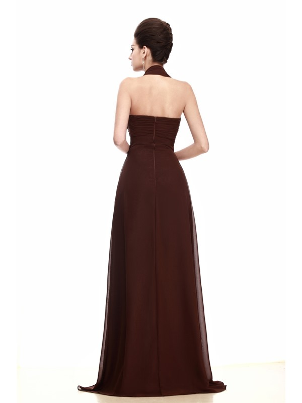 Hot Selling A-line Ruched Empire Waistline Halter Taline's Bridesmaid Dress