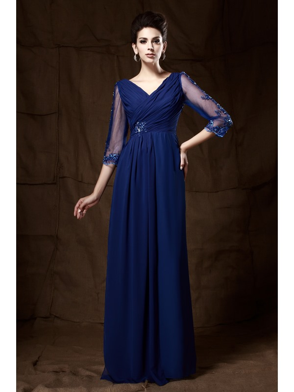 Graceful V-Neck 3/4-Length Sleeves Appliques Taline's Mother of the Bride Dress
