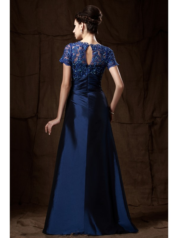 Elegant A-Line Appliques Beading Short Sleeves Floor-Length Taline's Mother of the Bride Dress