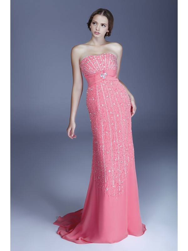 Sheath Strapless Neckline Beading Evening Dress