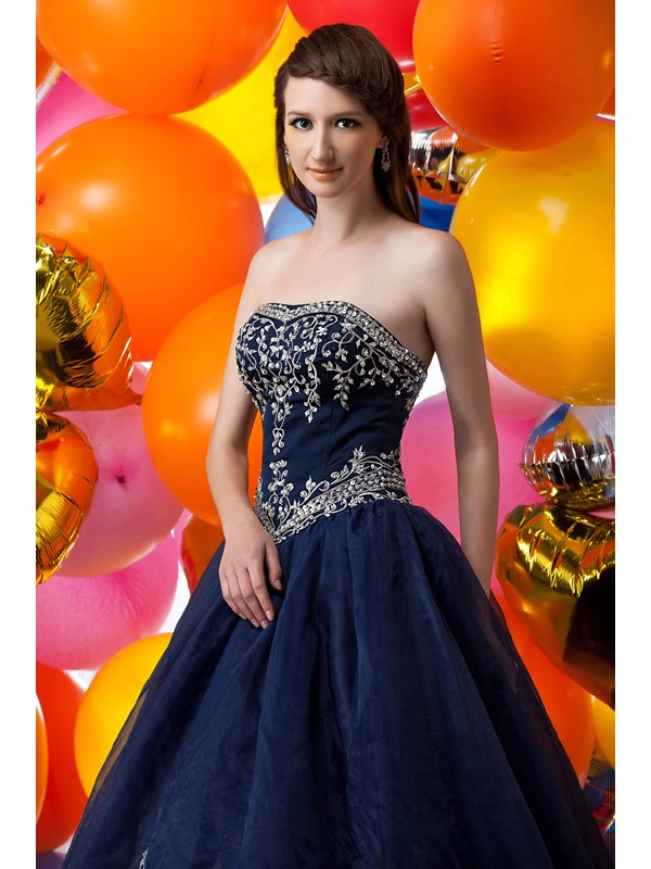 Exquisite Strapless Embroidery Sequins Floor-Length Maria Anastasia's Ball Gown Dress