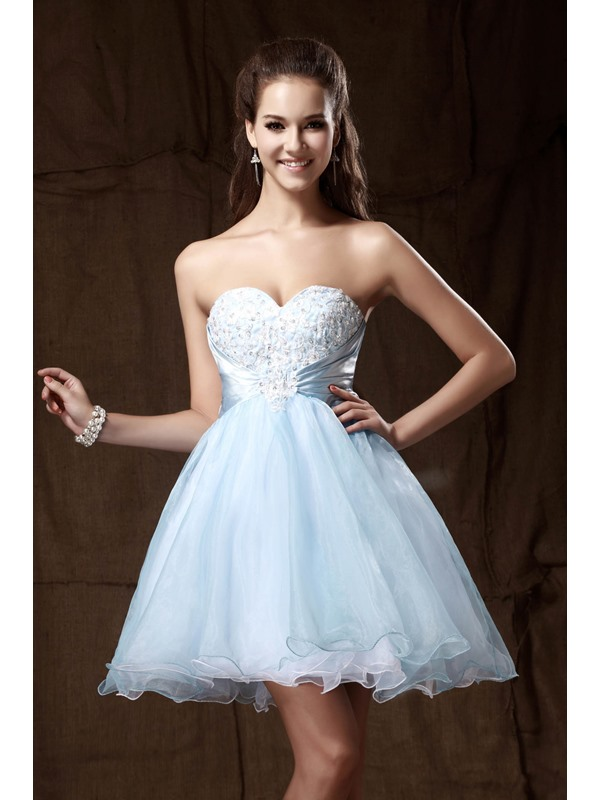 Graceful Sweetheart Mini-Length Empire Appliques Sandra's Homecoming Dress