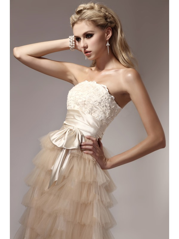 High Quality Strapless Tiered Appliques Short Dasha's Prom/Homecoming Dress