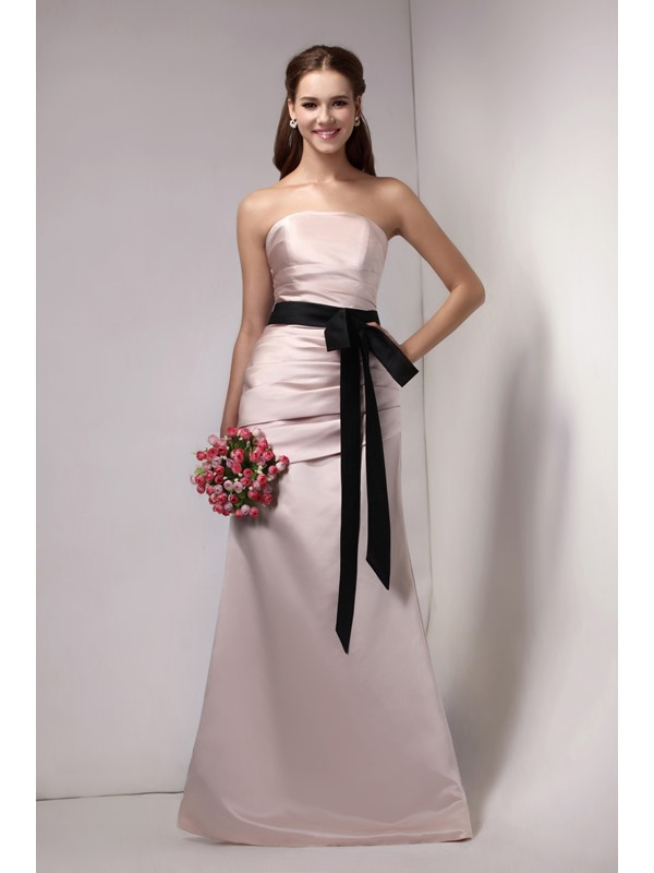 Ruched Strapless Sashes/Ribbons Trumpet/Mermaid Floor-Length Sandra's Bridesmaid Dress
