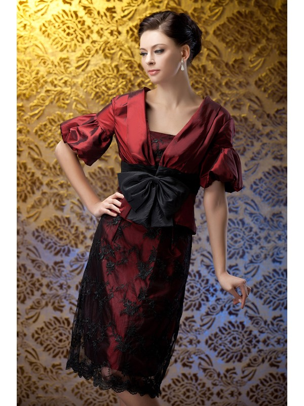 Lace Sheath Knee-Length Bowknot Polina's Mother of the Bride Dress With Jacket/Shawl