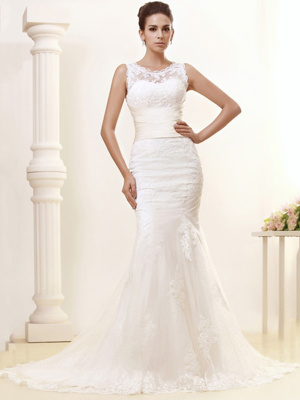 Gorgeous Trumpet/Mermaid Chapel Train Lace Taline's Wedding Dress(Free Shipping)