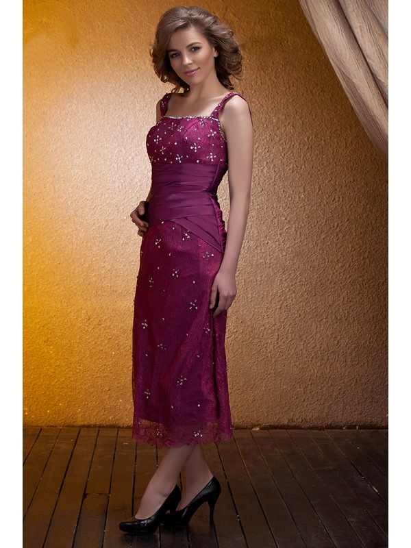 Fantastic Lace Beaded Sheath/Column Square Neckline Tea-Length Mother of the Bride Dress With Jacket/Shawl