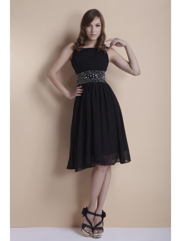 Popular Black A-Line Square Neckline Beading Knee-Length Ela's Cocktail Dress