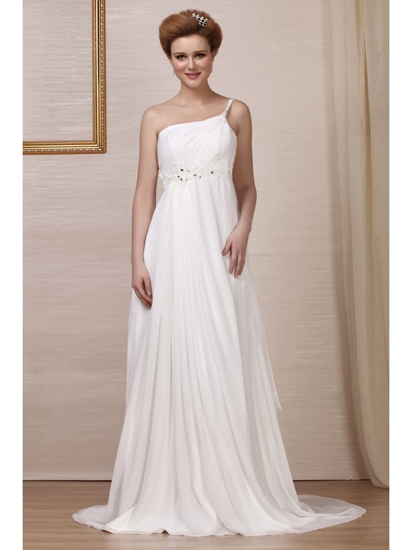 Grand Empire One-Shoulder Chapel Bridal Gown