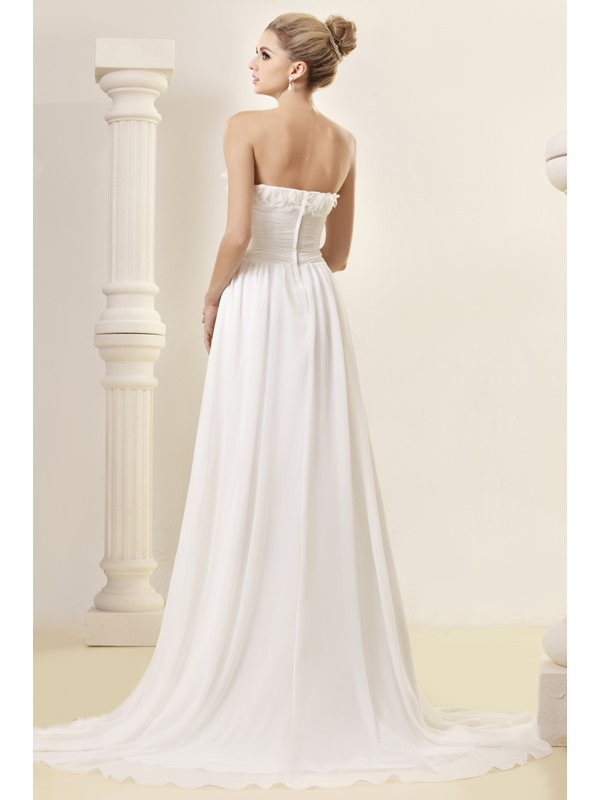 Delightful Empire Flowers Strapless Chapel Dasha's Wedding Dress