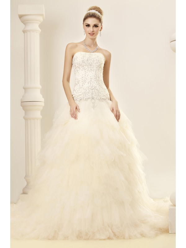 A-Line Strapless Court Ruffles Tulle Dasha's Wedding Dress