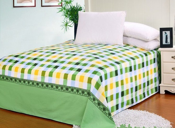 Smashing Green Check and Stripe Cotton Sheet
