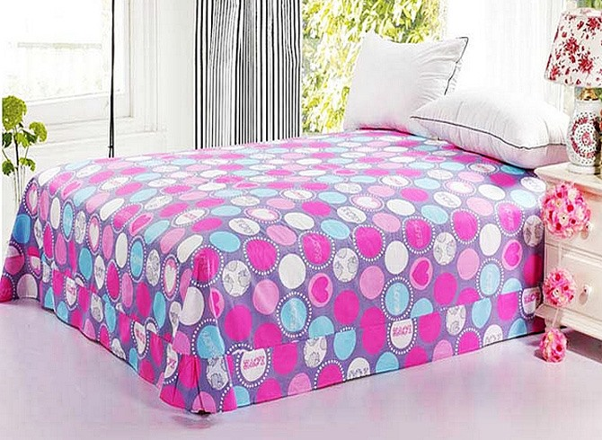 Dynamic Colorful Circle Active Printed Cotton Sheet with Edges