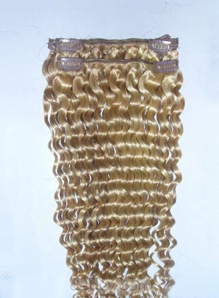 Top Quality Custom Curly Clip in Human Hair Extension For Finer Hair
